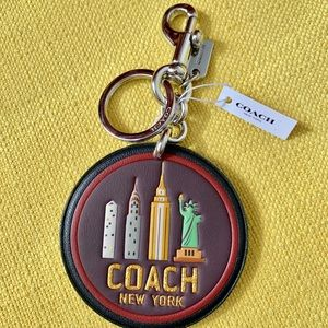 New coach New York round leather key chain/fob